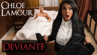 DEVIANTE - Sex Worker with big tits is late for a dick appointment but gets distracted with creampie