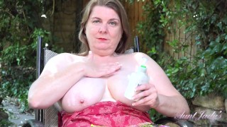 Aunt Judy's - 50yo Busty BBW Rachel lotions-up her BIG NATURAL TITS OUTDOORS