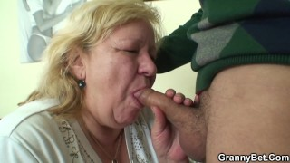 Young dude picks up huge old granny for play