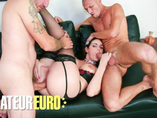 Amateureuro french maid rough threesome...