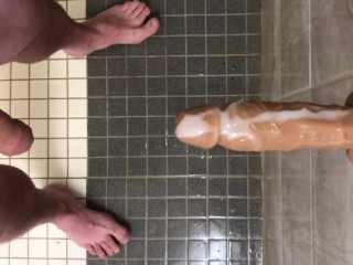 Foreskin over my friend dildos penis head piss...