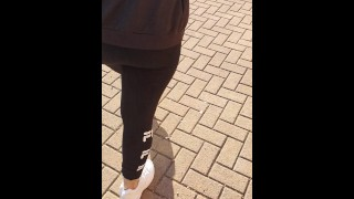 Step mom pull out leggings showing ass in public place and fuck step son