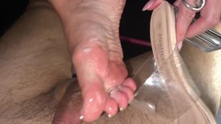 Cum on my sexy mules footjob