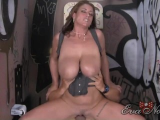 Moans while riding massive dick...