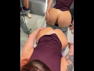 Fitting room sex and BJ LeoKleo Amateur couple