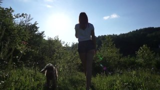 outdoor sex tape, walking around the lake ends with creampied pussy