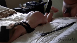 Slave girl bound, spanked and fucked in prone position, then swallows Master's cum like a good slut