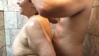 Amateur BBW Couple Has Playful Shower Sex - Homemade Real Couple Sex in the Shower Mature Granny TnD