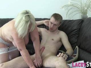 Granny slut deepthroating dick...