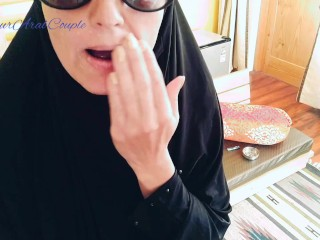 Smoking with sperm on her beautiful hijab face...