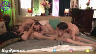 Full Swap Bi Foursome With Strap-on Action - Sexy Hippies