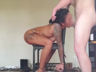 Female fan joined for chair bondage doggystyle full...
