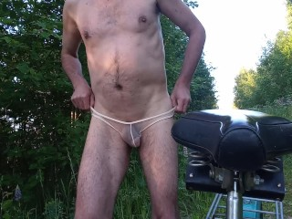 Exhibitionist cycled through in transparent panties...