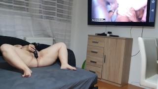 Dominant Wife Nymphadora watching Interracial Gangbang Porn and masturbate