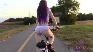 Skyla Pink skinny milf sexy bike ride ass eating my shorts