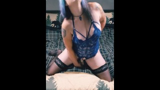 Goth MILF Strips and Rides Huge Dildo