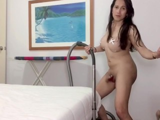 Naked shemale while cleaning her room...