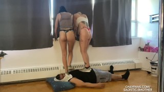 EXTREME Trampling & Facesitting - Mistress Alexis & Princess Natalie - {HD} (preview)