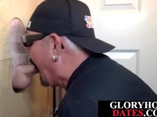 Deepthroating gets breeded through gloryhole...