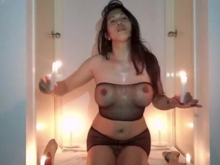 Ladyboy looks hot on her candle strip sexy...