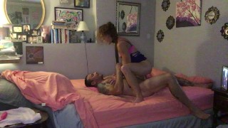 MILF Ericka rides the cum out of her man, after he drives his thick cock in her doggystyle