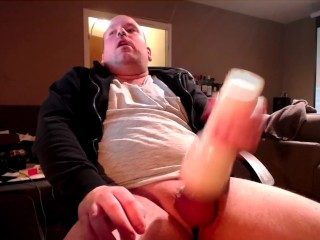 Chubby daddy watches porn and fucks and creampies...