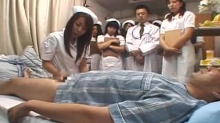 Japanese hospital nurse training day milking patient