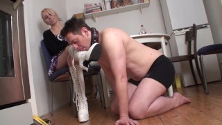 sandy let her shoes clean by slave bobby
