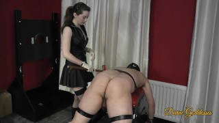 Leather Dominatrix Spanks Her Toy