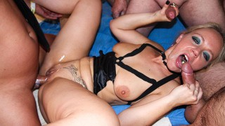 Nympho Housewife fucked by an army of Men