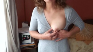 My wife, 58-year-old mother shows off and masturbates in front of the husband of our Colombian maid