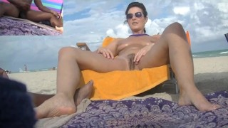 Exhibitionist Wife 472 Pt2 - Helena Price plays with her pussy while voyeur watches and jerks off!