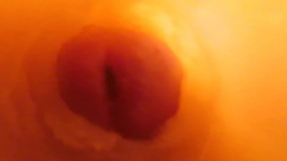 Camera inside vagina while fingering, fucking and cum with hot milf wife and nice cock