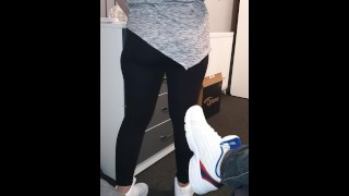 Step mom in black leggings seduce step son with big ass (come and fuck me)